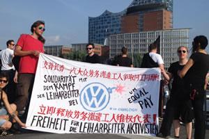 Solidarität mit VW-Leiharbeitern in China am Rande von G20 in Hamburg