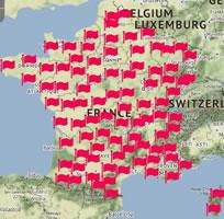"""Aktualisierte Streikkarte der Protestmobilisierung für den Aktionstag am 12. September 2017 in Frankreich gegen Macrons """"Loi travail 2"""""""