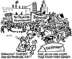 Grafik zum politischen (Nicht-)Streik in Deutschland aus isw-report90 - wir danken!