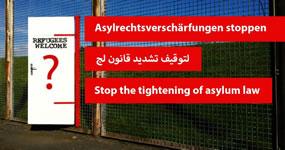 """Aktionsseite """"Asylrechtsverschärfungen stoppen"""""""