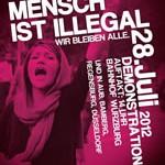 Solidemonstration für die streikenden Flüchtlinge und für die Rechte aller Flüchtlinge am Samstag, 28.07.12