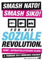 Plakat zum Antikapitalistischen Block Siko 2013