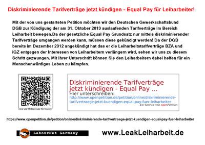 Flyer zur Petition zur Kündigung der DGB-Tarifverträge im Bereich Leiharbeit