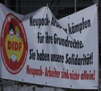 DIDF (u.a.) solidarisch mit dem Neupack-Streik
