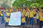 die streikenden Bergarbeiter der Gewerkschaft Sintracarbon