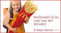 e-mail-Aktion von foodwatch: McDonald's & Co. raus aus den Schulen!