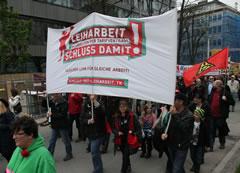 Protest gegen Tarifverhandlungen zur Leiharbeit am 1. Mai 2013 in Stuttgart, Foto von Thomas Trueten - Umbruch Bildarchiv Berlin
