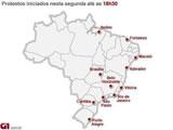 Karte der sozialen Proteste in Brasilen 2013