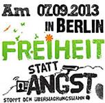 "Demonstration ""Freiheit statt Angst"" 2013 in Berlin am 7. September 2013"