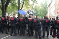 Polizeisperre beim Naziaufmarsch in Dortmund am 31.8.2013