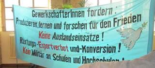 """""""Wir widersprechen"""" bei dem """"friedens- und sicherheitspolitischen Workshop"""" des DGB"""