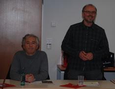 Von links nach rechts: Helmut Born und Gregor Falkenhain. Gregor Falkenhain erinnert als Gründungsmitglied an die Initativen der ver.di-Linke in den letzten 10 Jahren
