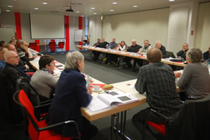 Gut gefüllt war der Raum anlässlich des 10jährigen Jubiläums der ver.di-Linke NRW