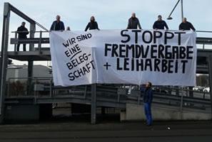 Protest gegen Fremdvergabe und Leiharbeit bei DC Bremen am 4.2.2014