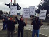 Protest der Hafenarbeiter von Portland gegen ICTSI