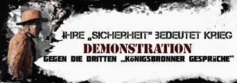 """Ihre """"Sicherheit"""" bedeutet Krieg! Protest gegen Kriegskonferenz in Königsbronn"""