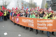 04/04/2014 in Brüssel: We were 50,000 people to demonstrate against austerity and for investment, quality jobs, equality