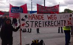 ver.di-aktiv (Berliner Verkehrsbetriebe): DGB-Kongress: Protest gegen Bedrohung des Streikrechts
