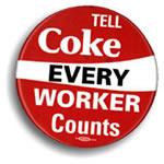 Rote Karte für Coca-Cola. Europäischer Aktionstag bei Coca-Cola am 5. Mai 2014