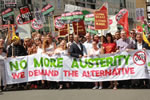 no more austerity - Demo in Großbritannien