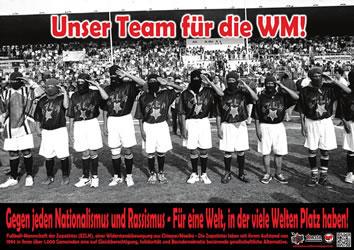 """Unser Team für die WM. Plakat der Düsseldorfer Lateinamerika Gruppe """"Alerta!"""""""
