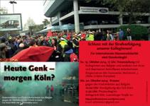 Aufruf des Solikreises zu den Protestaktionen: HEUTE GENK – MORGEN KÖLN?