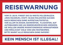 """""""MOS MAIORUM"""": Reisewarnung vom 13. bis 26. Oktober 2014"""