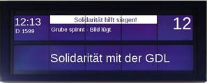 Zugzielanzeiger: Solidarität mit der GDL (Wir danken Markus Heilck)