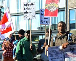 """Kundgebung """"Arbeitserlaubnis für die Kolleg*innen der Gruppe Lampedusa in Hamburg"""""""