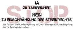 Tarifeinheit: JA – Eingriff ins Streikrecht: NEIN. Unterschriftensammlung von ver.di, GEW und NGG