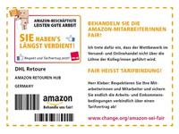 Solidaritäts-Aktion für die Streikenden bei Amazon: AufKLEBER Retourenschein