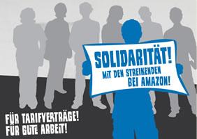 """Postkartenaktion """"Solidarität mit den Streikenden bei Amazon!"""""""
