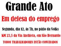 Brasilien: Die Metallgewerkschaft des ABC ruft für Montag 12. Januar um 10 Uhr zu einer Großkundgebung auf – auf der Via Anchieta