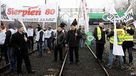 Bergarbeiterstreik im Januar 2015 in Polen