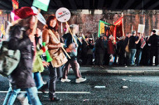 Demo des finnischen Gewerkschaftsverbandes SAK