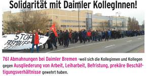 """Soli-Aktion gegen 761 Abmahnungen wegen eines """"wilden Streiks"""" bei DC Bremen"""