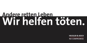 """Postkartenaktion: """"Wir helfen töten. Heckler & Koch"""""""