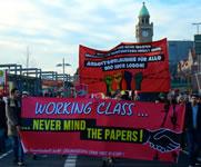 Foto der Demo v.a. vom gewerkschaftlichen Block am 31.01. in Hamburg