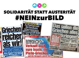 Blockupy: Solidarität statt Austerität. Nein zur Bild