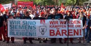 Protest gegen Stellenstreichungen bei Siemens, Bild: IG Metall