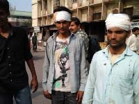 Verletzte Metrogewerkschafter in Delhi
