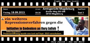 18.09.2015, Amtsgericht Magdeburg: Ein weiteres Repressionsverfahren gegen die Initiative in Gedenken an Oury Jalloh