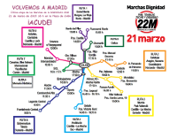 Die Würdemarsch-Säulen unterwegs nach Madrid