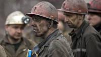 Streikende Bergleute in der Ukraine