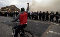 Szene des Bürgerkriegs in Baltimore