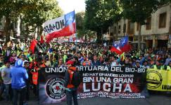 Hafenarbeiterdemo in Biobio / Chile gegen das neue Arbeitsgesetz