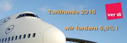 ver.di-Tarifrunde für den Lufthansa-Konzern 2015: Bodendienste u.a.