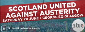 Plakat der schottischen Gewerkschaften zur Demo am 20. Juni 2015