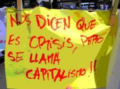 Spanien: Sie nennen es Krise, es heisst aber Kapitalismus (Protestplakat auf Würdemräschen 2015)