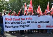 Gewerkschaftlicher Protest gegen FIFA 2014